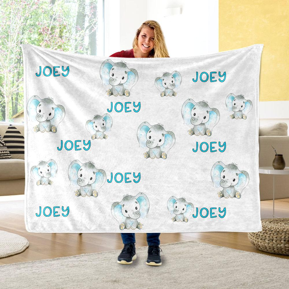 Personalized Name Green Elephant Fleece Blankets