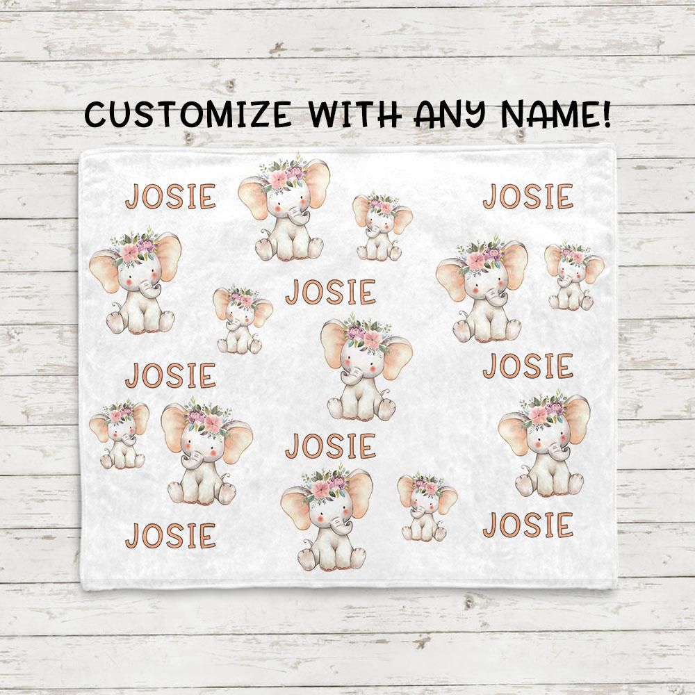 Personalized Name Cartoon Elephant Fleece Blankets