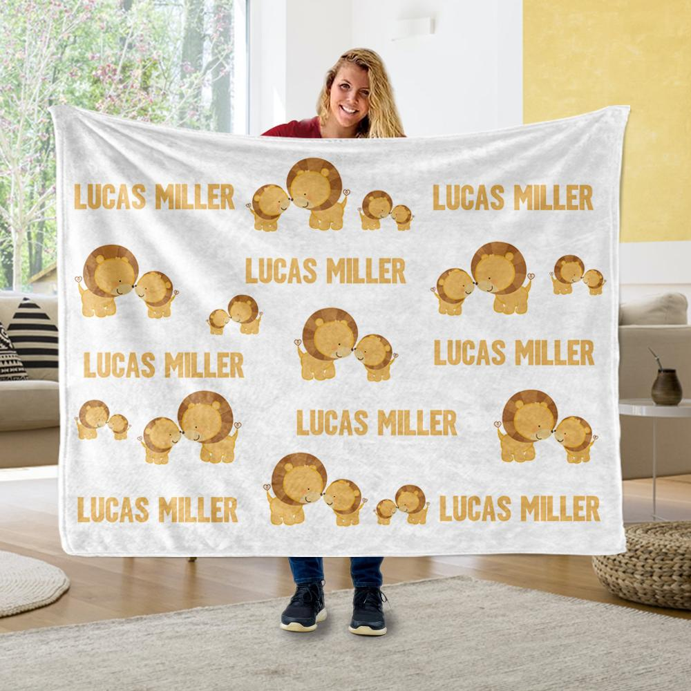 Personalized Name Lion Cozy Plush Fleece Blankets - BUY 2 SAVE 10%
