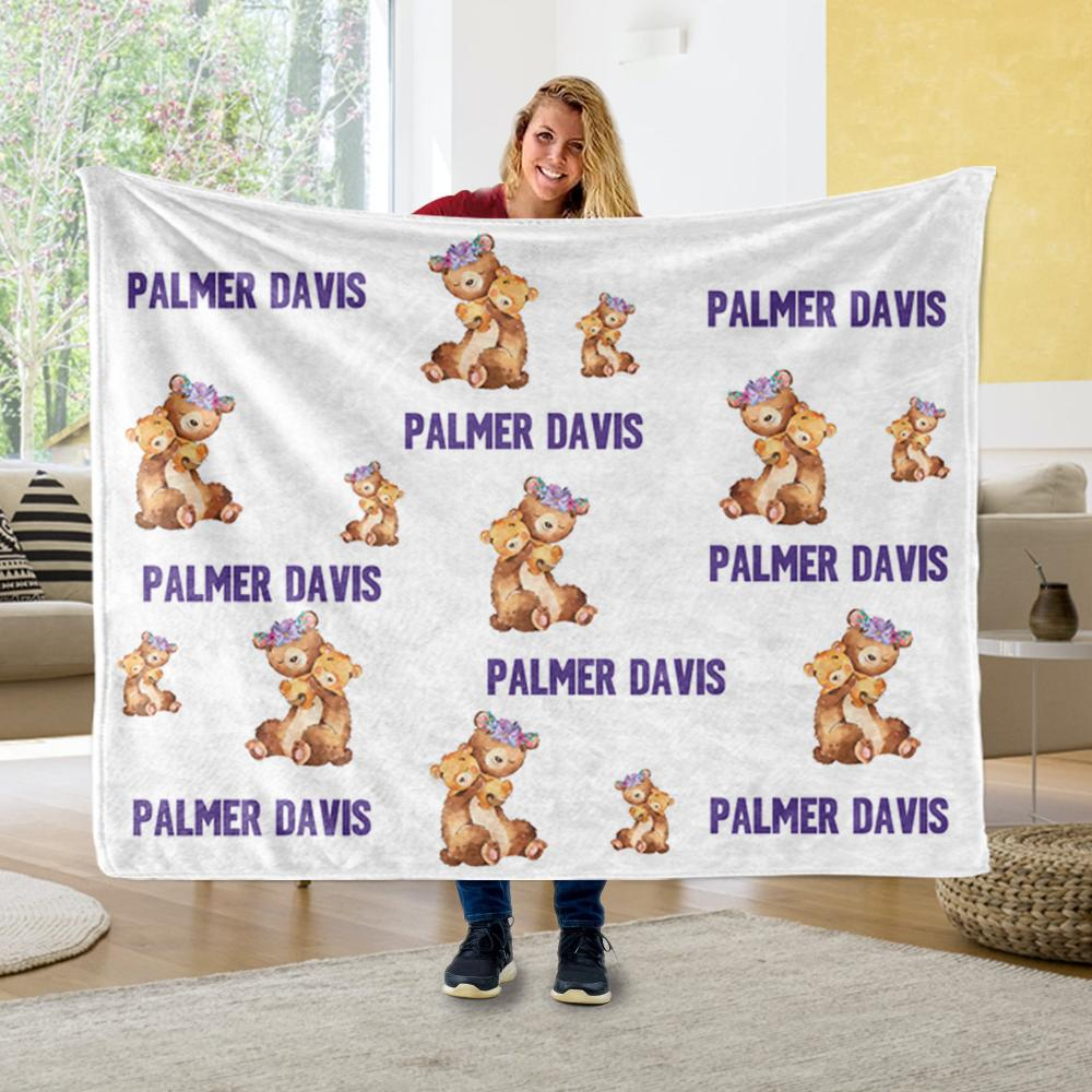Personalized Name Floral Bear Fleece Blankets - BUY 2 SAVE 10%