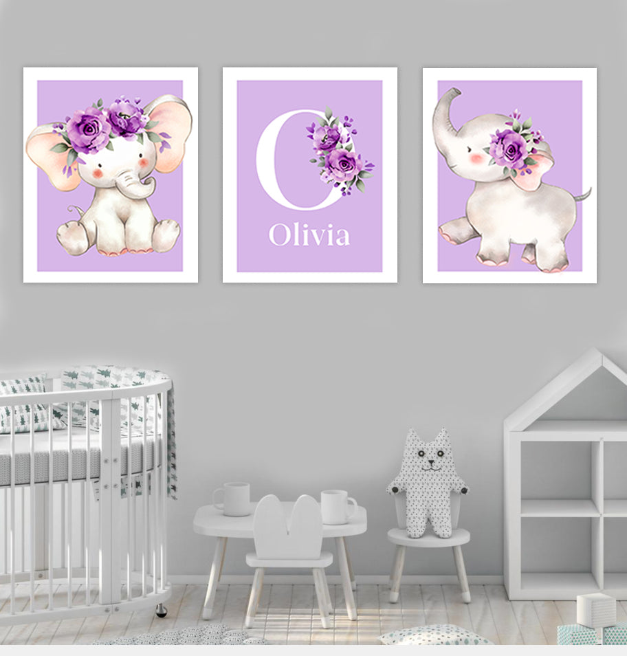 Personalized Initial & Name Purple Elephant Canvas Wall Art