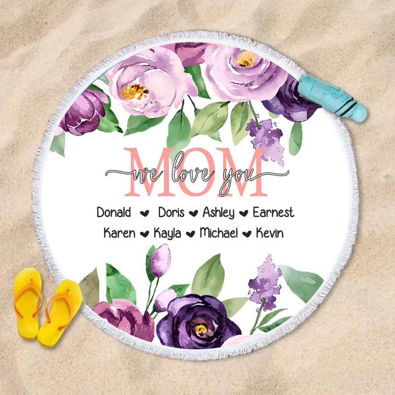 Purple Floral Custom Round Beach Towel with Title & Kids' Names