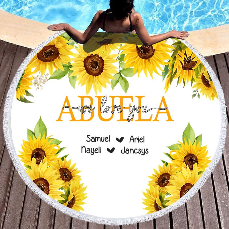 Sunflower Custom Round Beach Towel with Title & Kids' Names