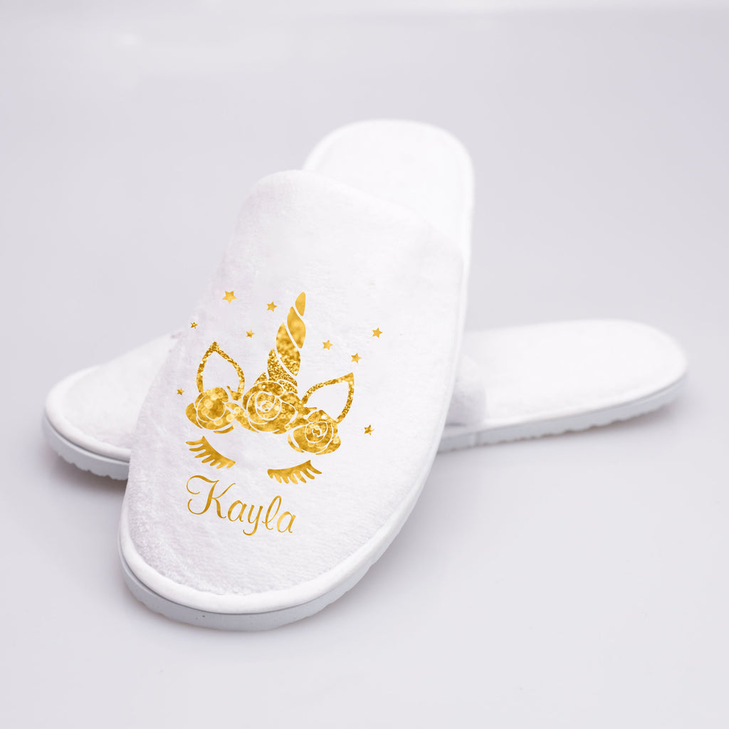 Custom Bling Bling Unicorn Slippers Personalized Name Slippers - One Size Fits All