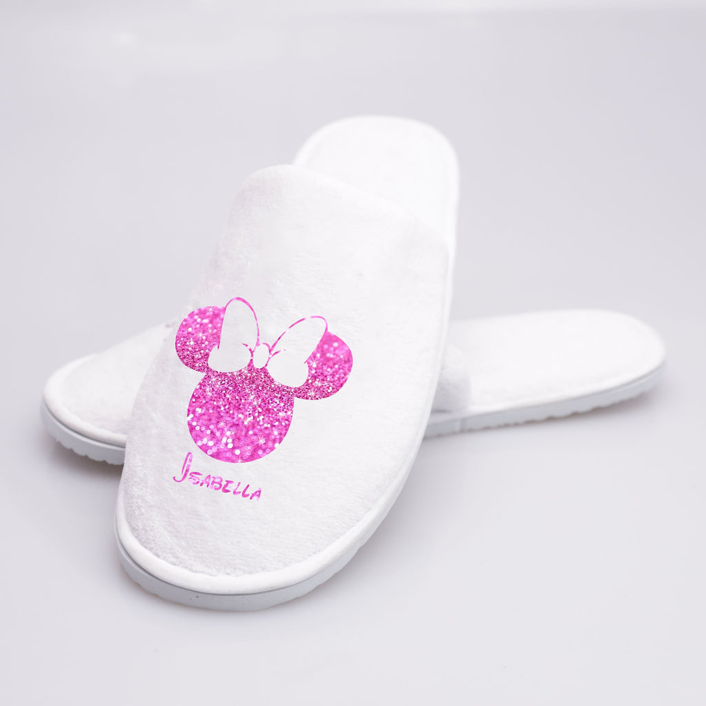 Custom Glitter Slippers with Name Close Toe - One Size Fits All