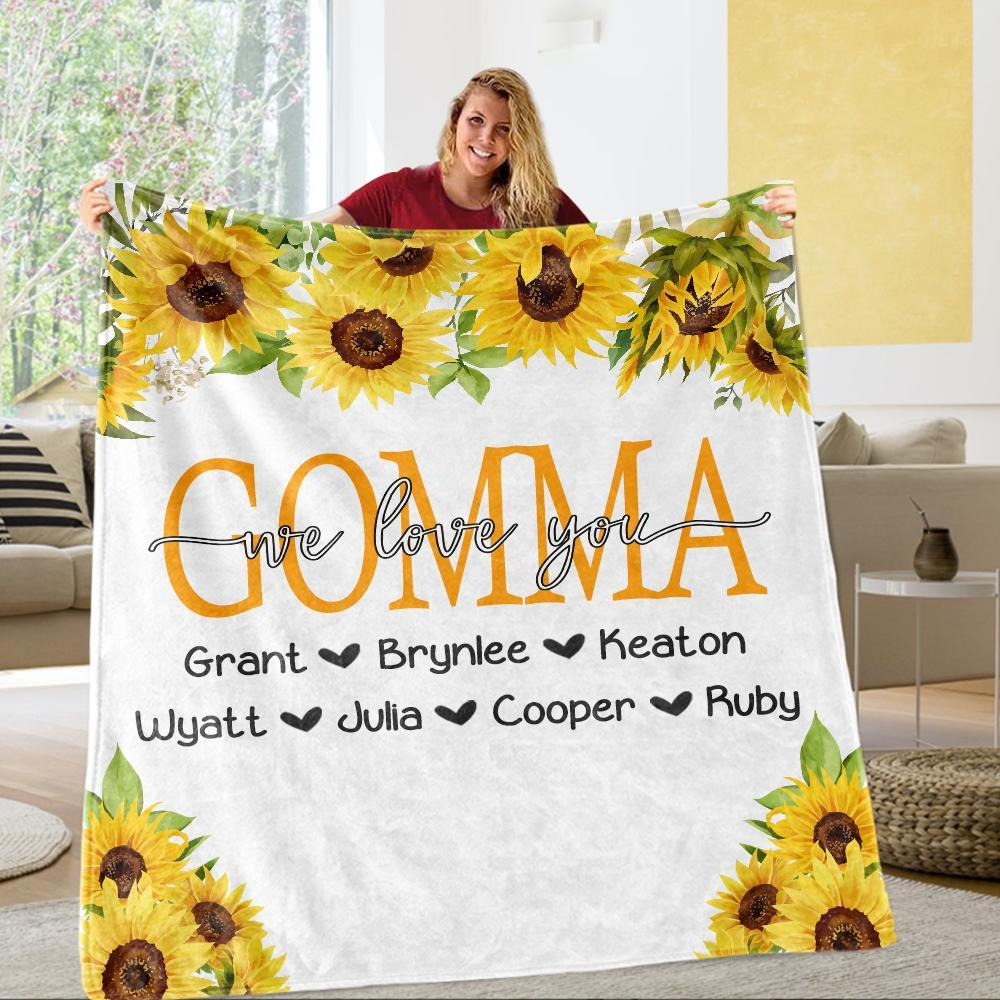 Personalized Sunflower Cozy Plush Fleece Blankets with Your Nick & Kids' Names - BUY 2 SAVE 10%