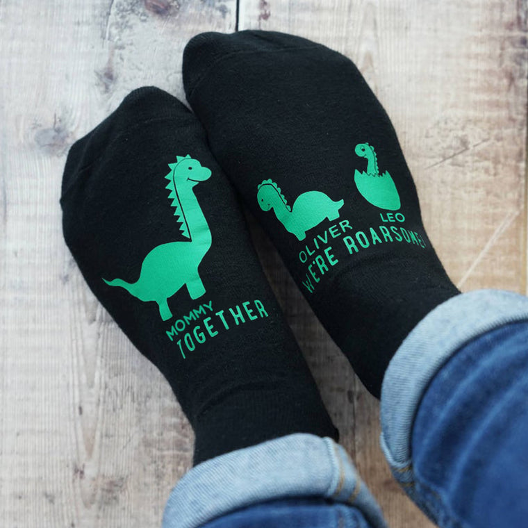 Personalized Mummy and Me Dinosaur Women's Socks I
