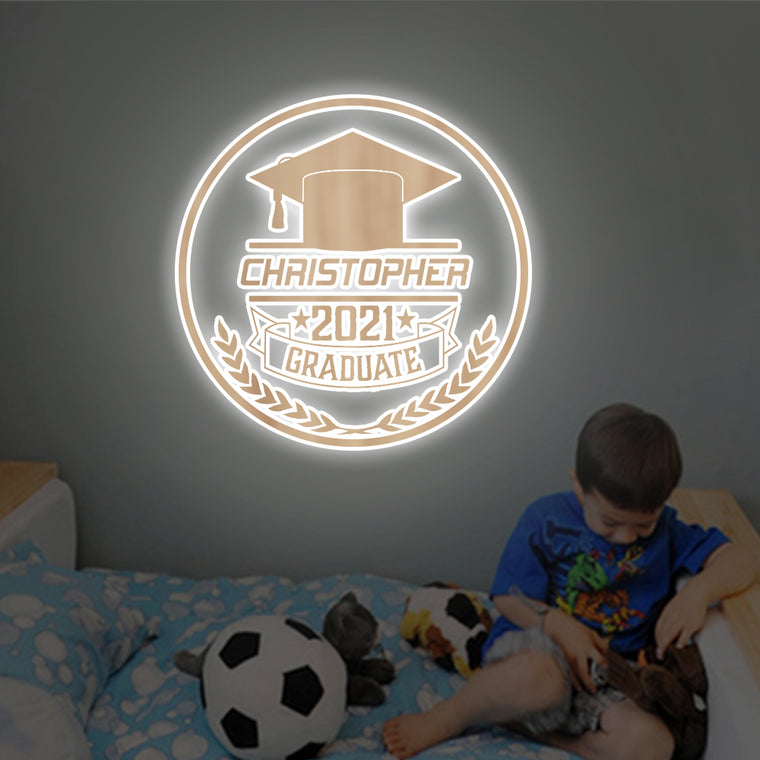 Personalized 7-Color Graduation Wooden Wall Light-Custom Name Home Kid Room Decor