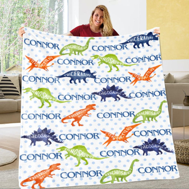 Personalized Name Dinosaur Fleece Blankets, Birthday Gifts, Baby Shower Idea, Baby Nursery Decor