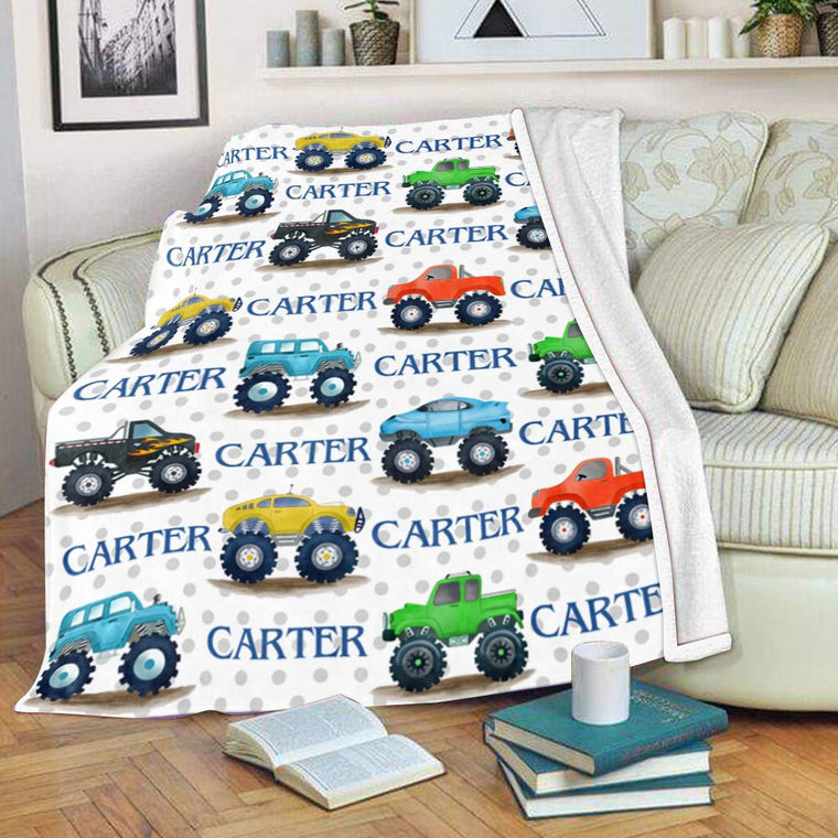 Personalized Name Monster Trucks Fleece Blankets, Birthday Gifts, New Baby Gift, Baby Nursery Decor