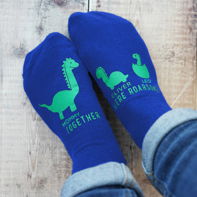 Personalized Mummy and Me Dinosaur Women's Socks III