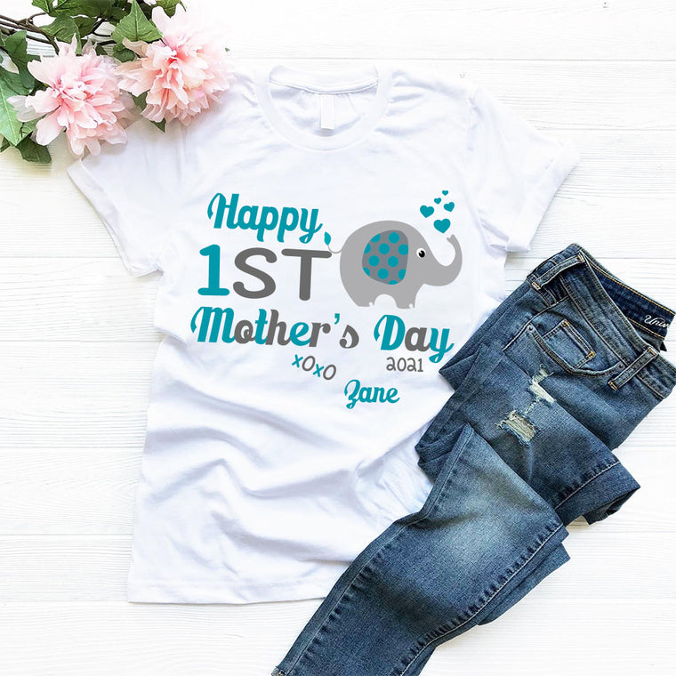 Personalized Name Little Elephant Mother's Day Mom Tee