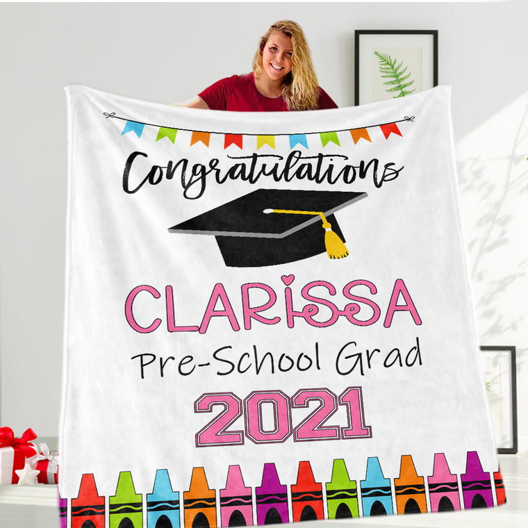 Personalized Graduation Fleece Blanket for Class Of 2021 IX