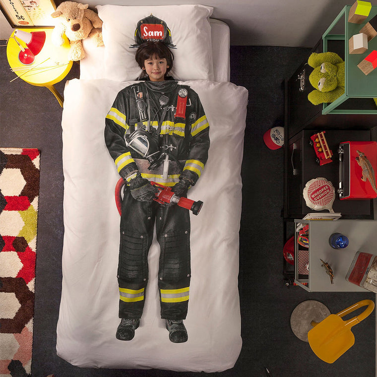 Personalized Name Kid Fireman Microfiber Bedding Set X