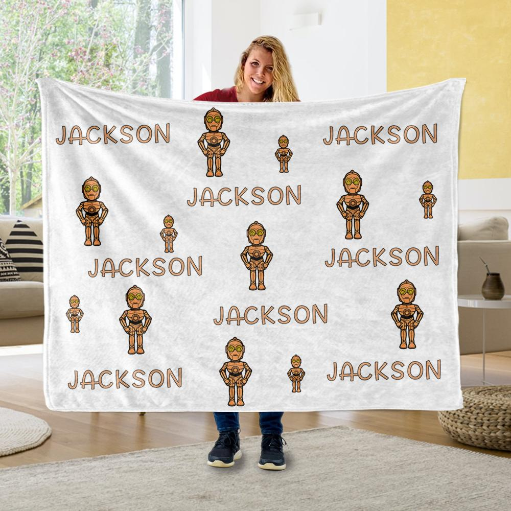Personalized Name Cartoon Cozy Plush Fleece Blankets V