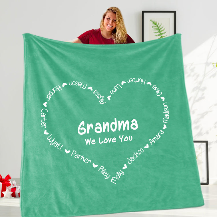 Personalized Heart-shaped Nickname and Kids Name Fleece Blanket V Made in USA