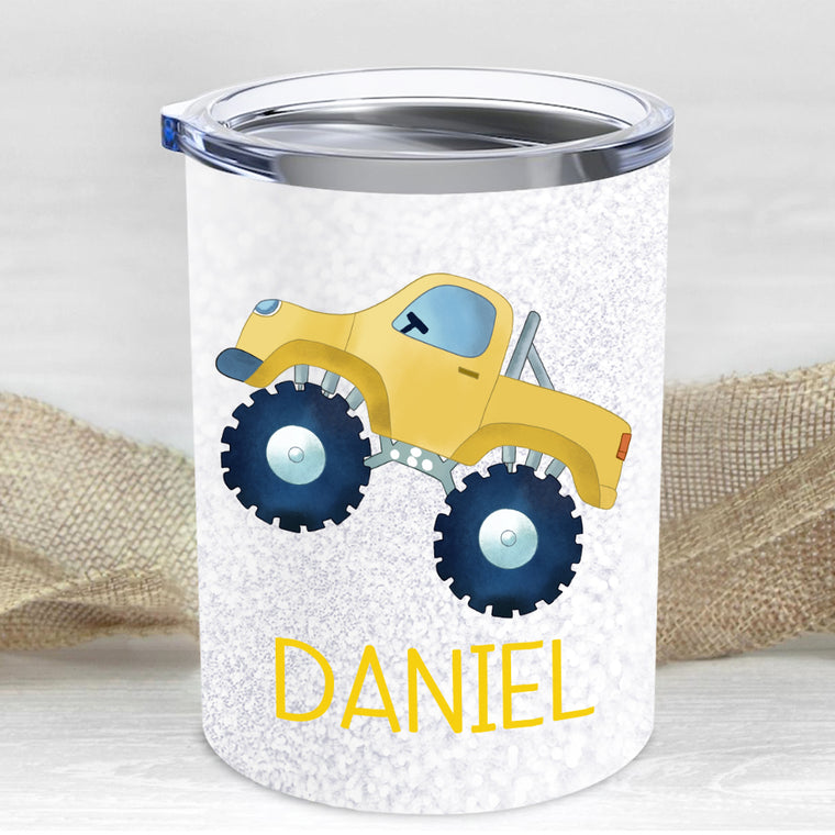 Custom Name Monster Truck Children's Travel Drink Tumbler 10oz III