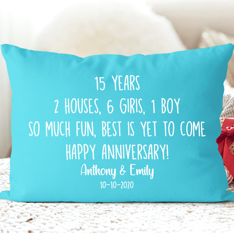 Custom Year and Name Anniversary Pillowcase II - Wedding Anniversary Gift