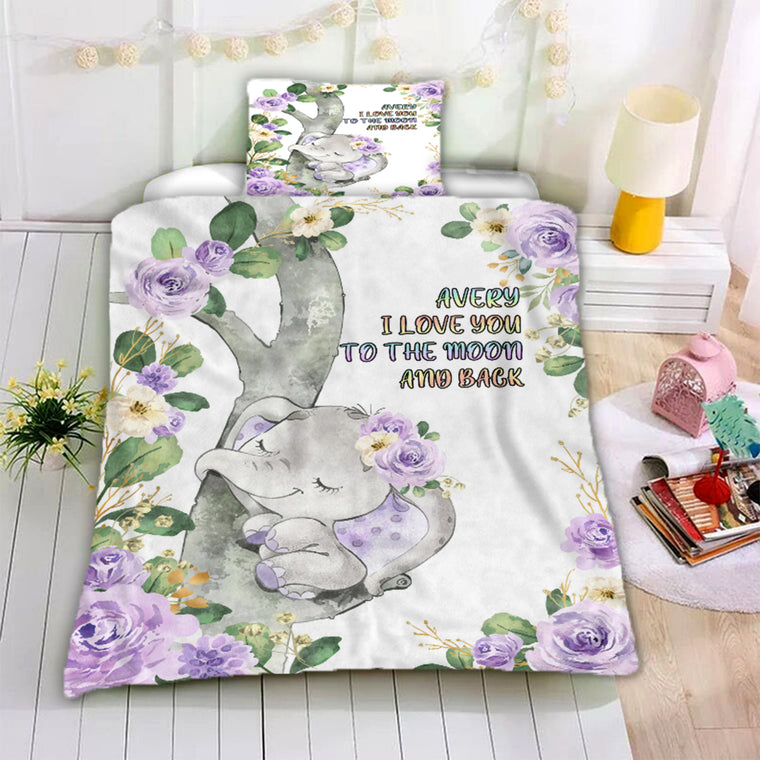 Personalized Name Baby Elephant Microfiber Bedding Set IV