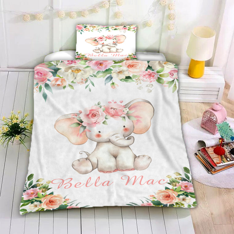 Personalized Name Baby Elephant Microfiber Bedding Set III