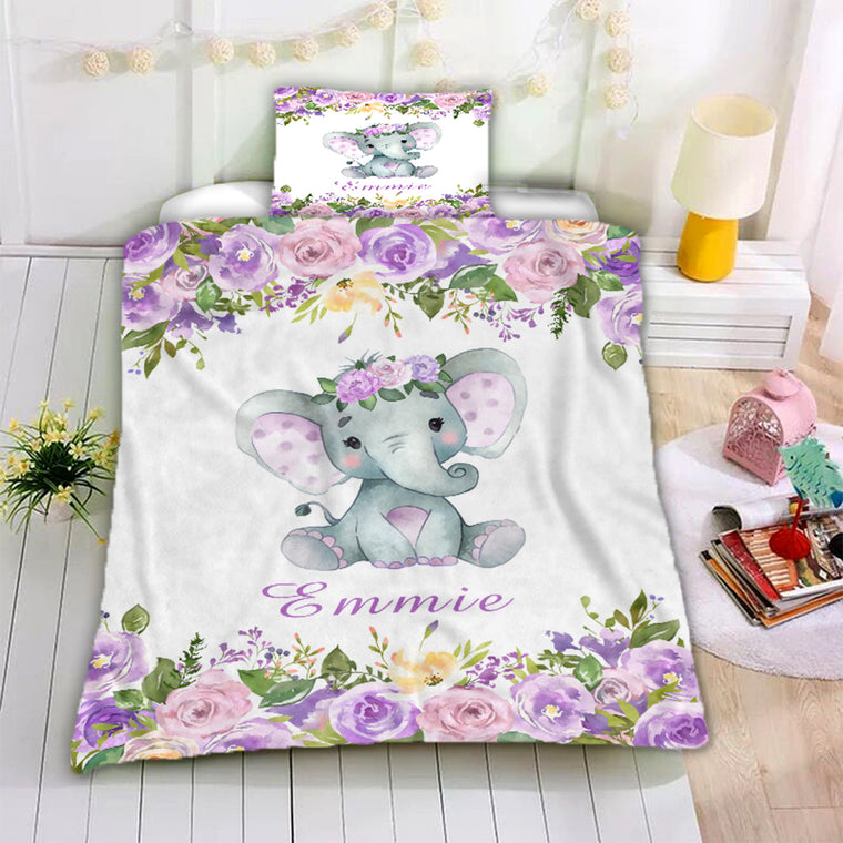 Personalized Name Baby Elephant Microfiber Bedding Set II