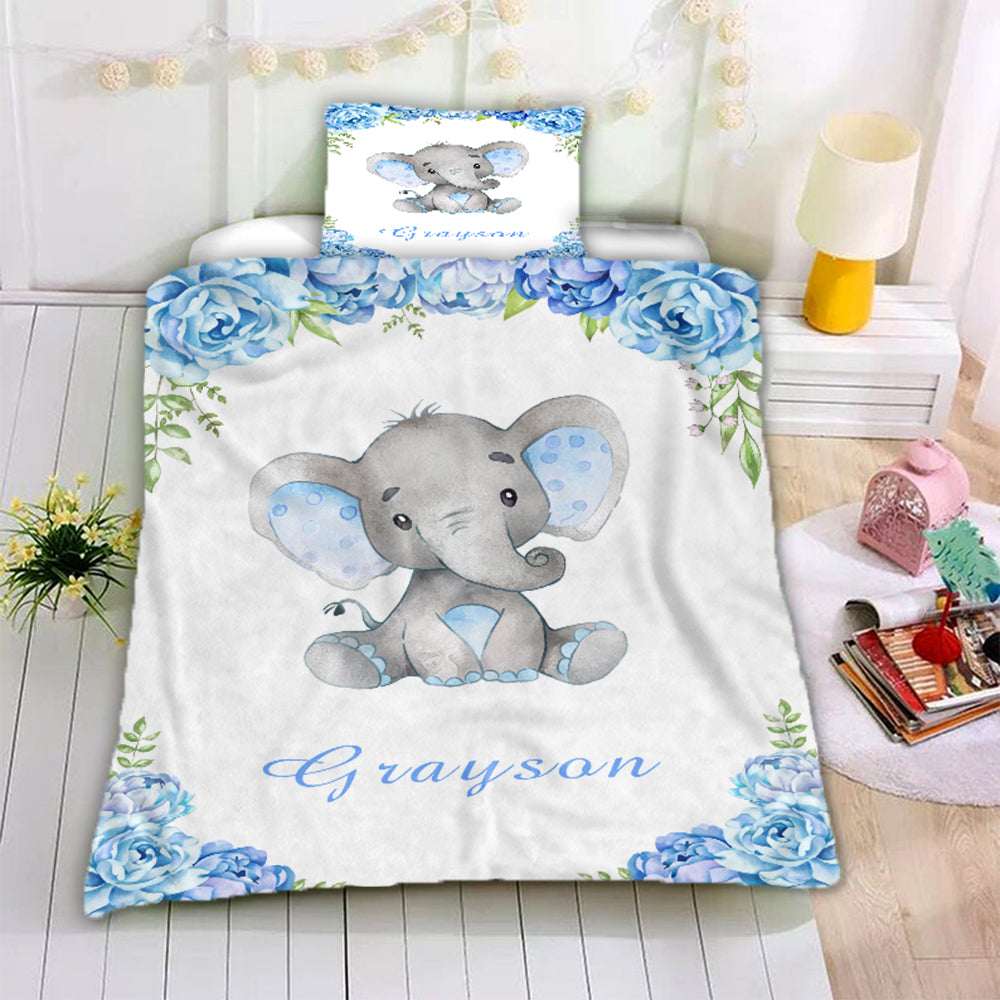 Personalized Name Baby Elephant Microfiber Bedding Set VI