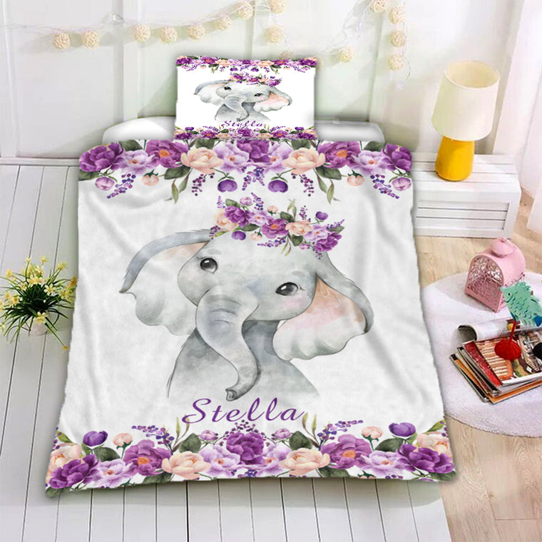 Personalized Name Baby Elephant Microfiber Bedding Set I