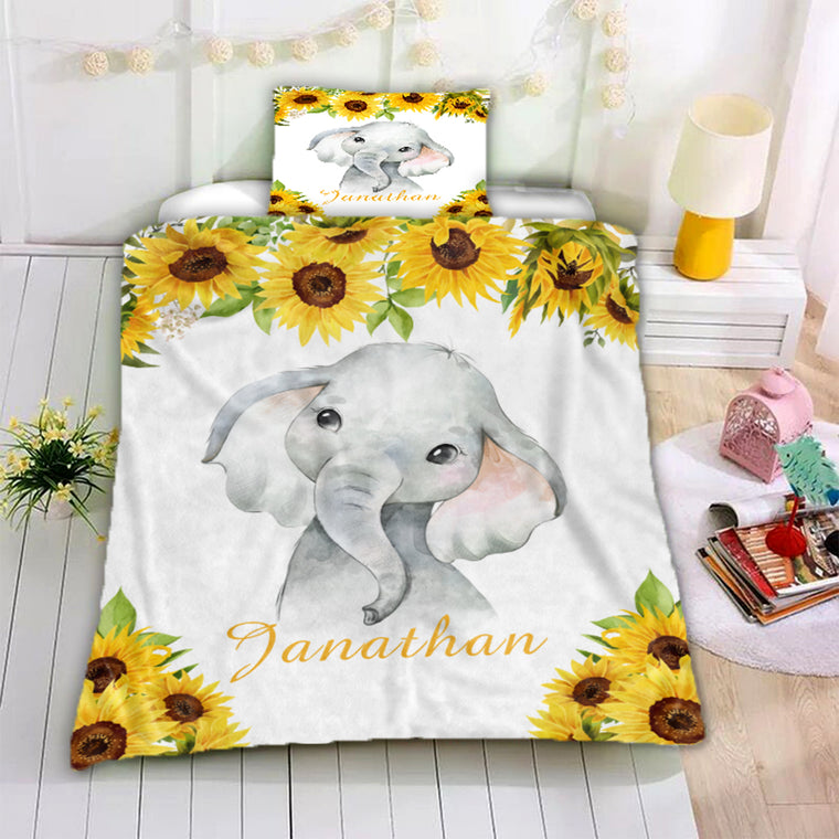 Personalized Name Baby Elephant Microfiber Bedding Set VII