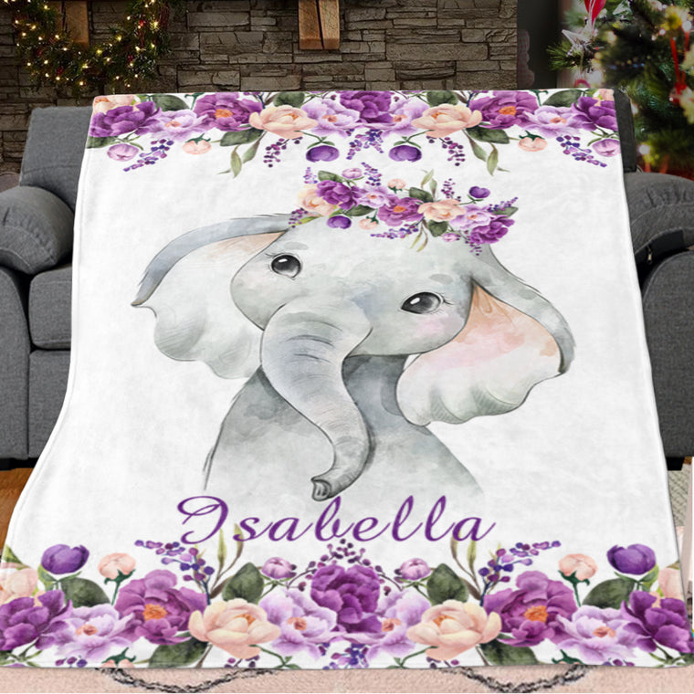 Personalized Name Baby Girl Elephant Fleece Blankets with Purple Flowers