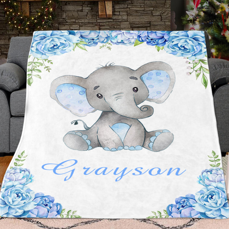 Personalized Name Baby Elephant Fleece Blankets with Blue Flowers