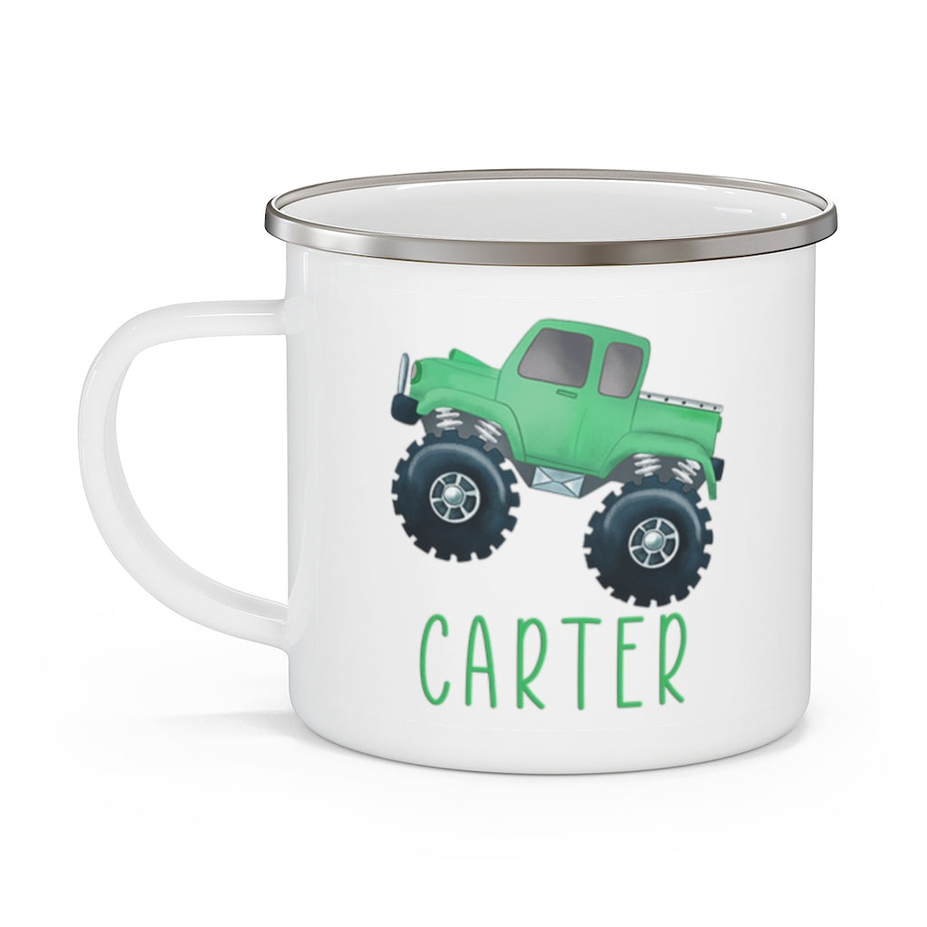 Custom Name Monster Truck Children's Enamel Campfire Mug III