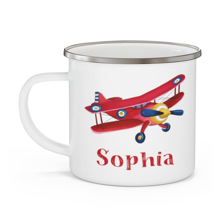 Custom Name airplane Enamel Campfire Mug I