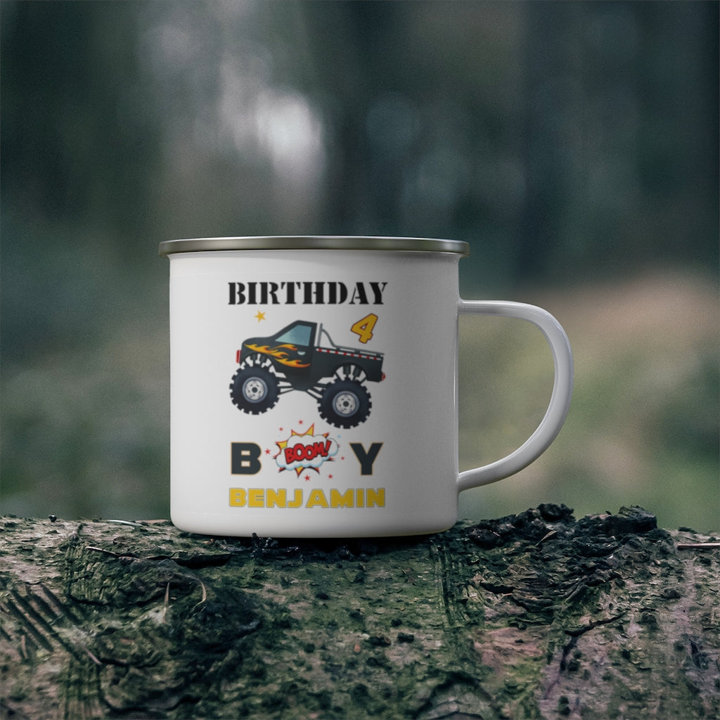 Custom Name Monster Truck Children's Birthday Enamel Campfire Mug III