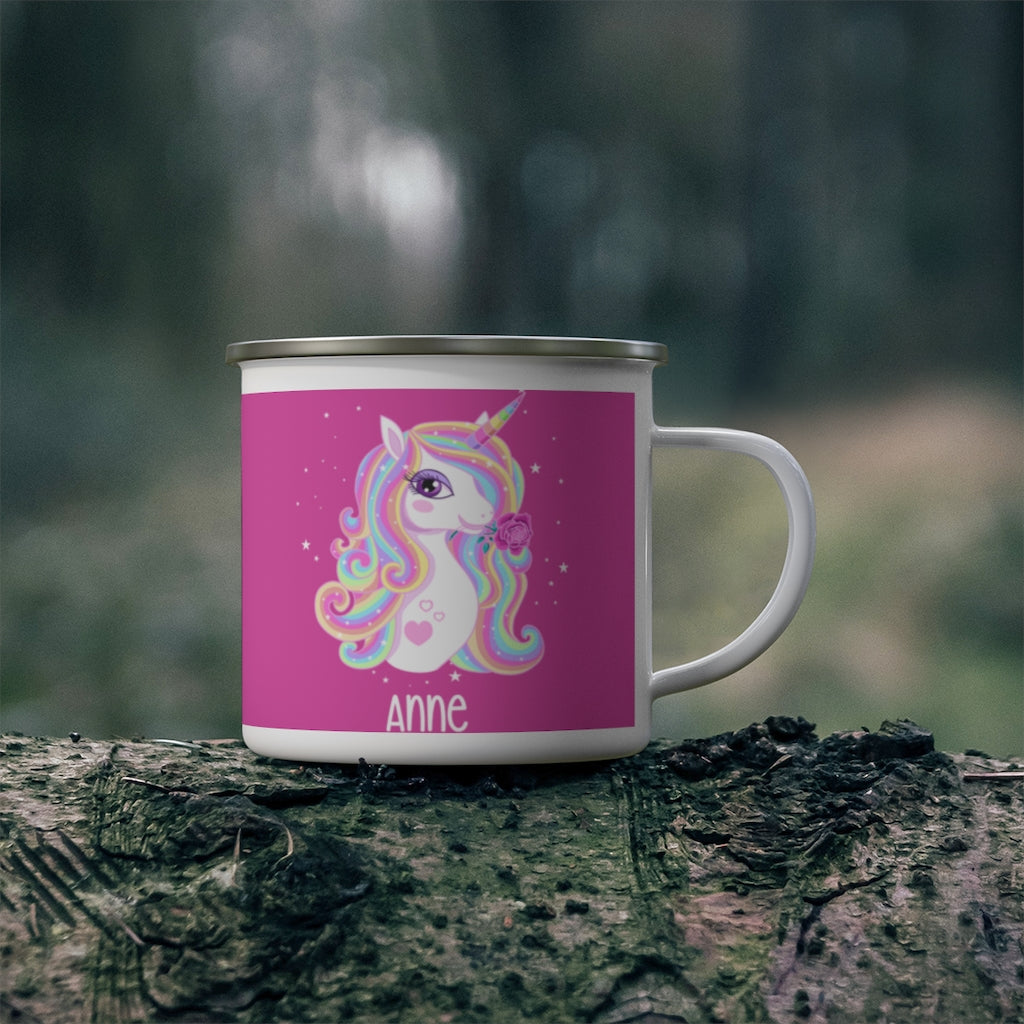 Custom Name Unicorn Enamel Campfire Mug XIV