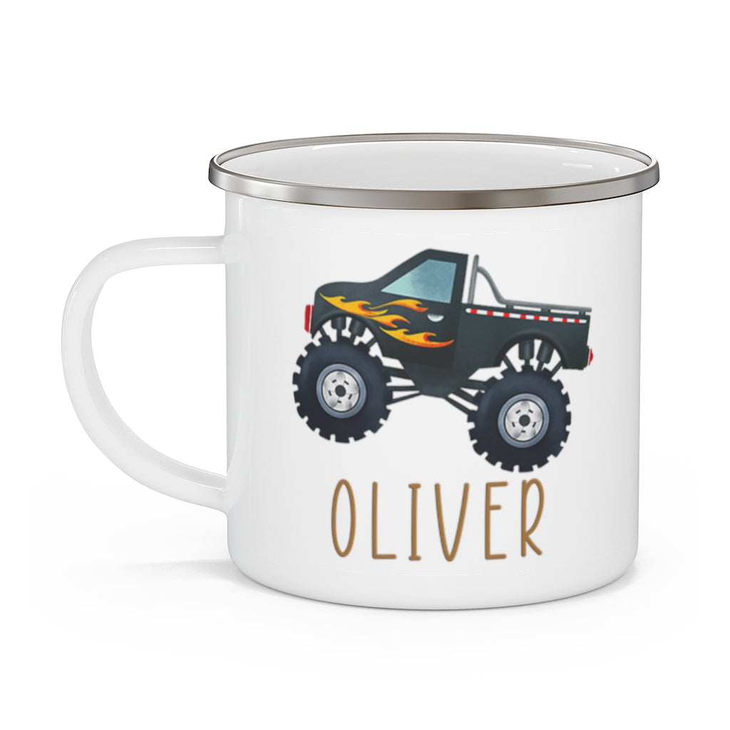 Custom Name Monster Truck Children's Enamel Campfire Mug II