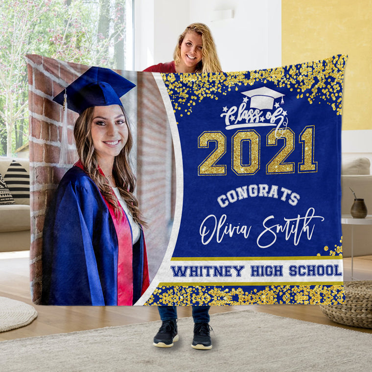 Custom Photo Graduation Cozy Plush Blankets II