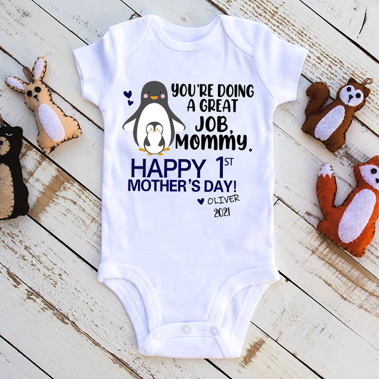 Personalized Name Penguin Mother's Day Baby Onesie