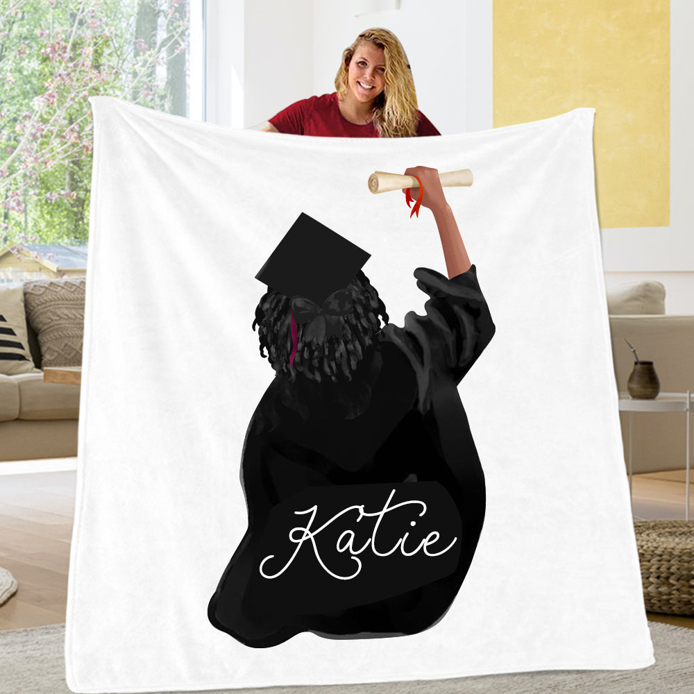 'And So The Adventure Begins' Custom Name Graduation Blankets