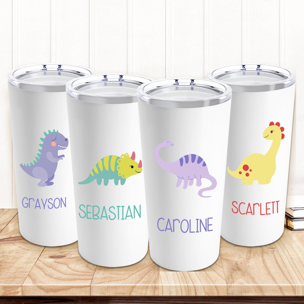 Personalized Dinosaur Stainless Steel Tumbler 20oz With Name III - Made in USA