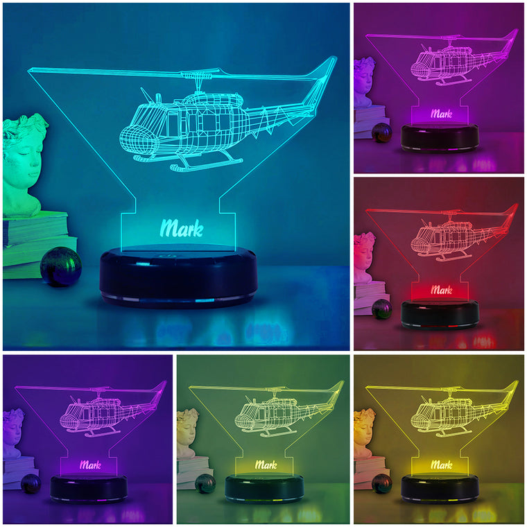 Custom Name Helicopter Acrylic Night Lights