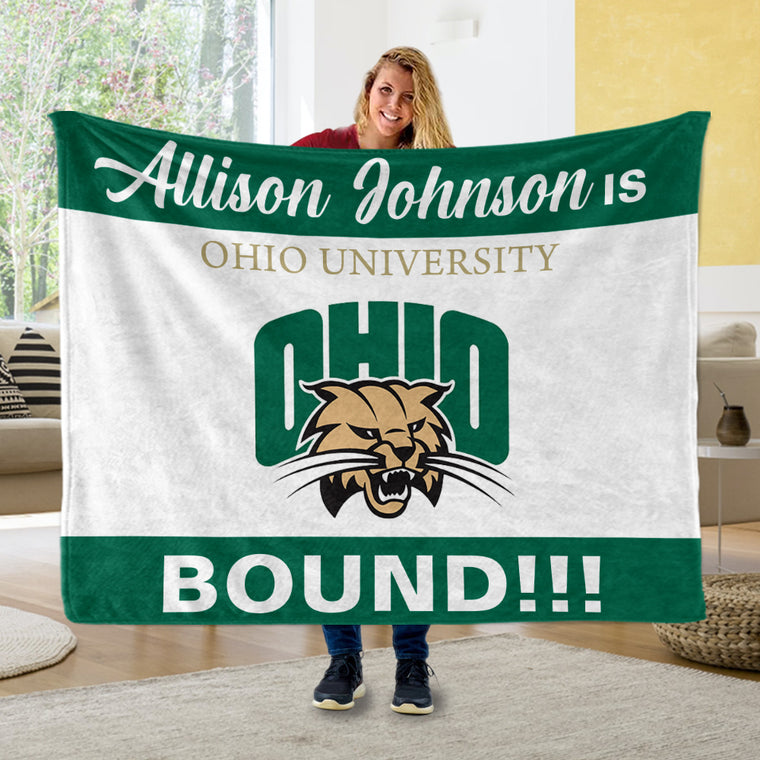 Custom Name, College Name & Logo Graduation Cozy Plush Blankets, Green & White Background