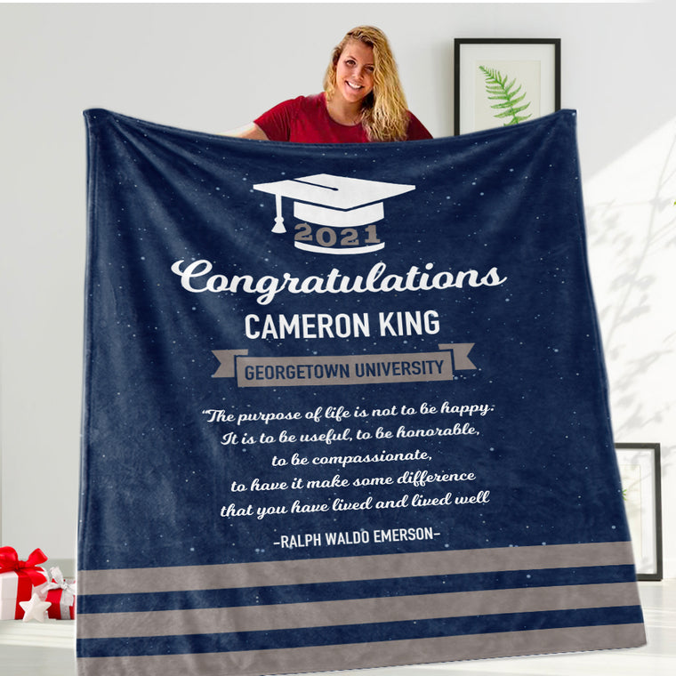 Custom Graduation Blanket for Class of 2021- 4 Colors Available
