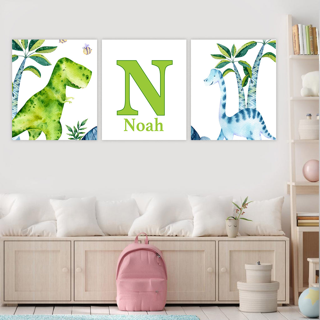 Personalized Initial & Name Dinosaur Boys Bedroom Canvas Wall Art