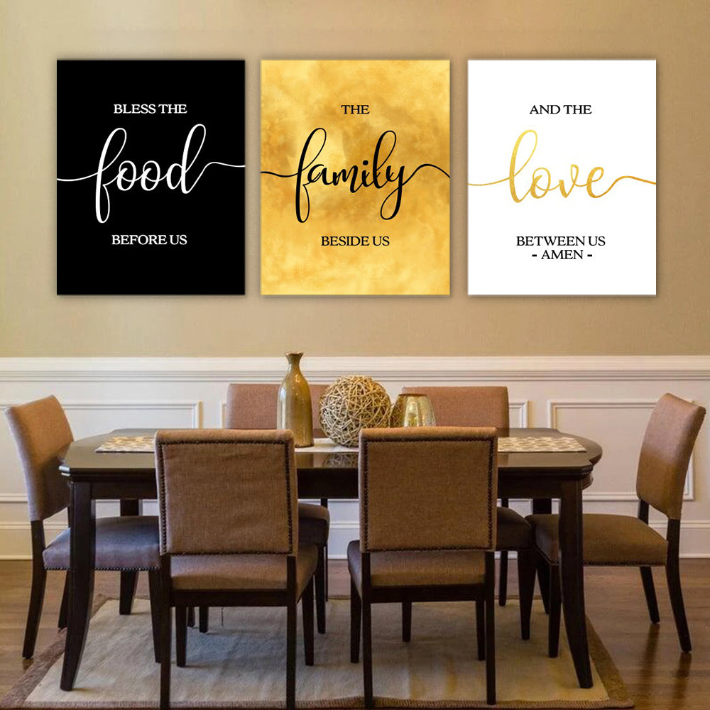Bless the Food Dining Room Wall Art Set II
