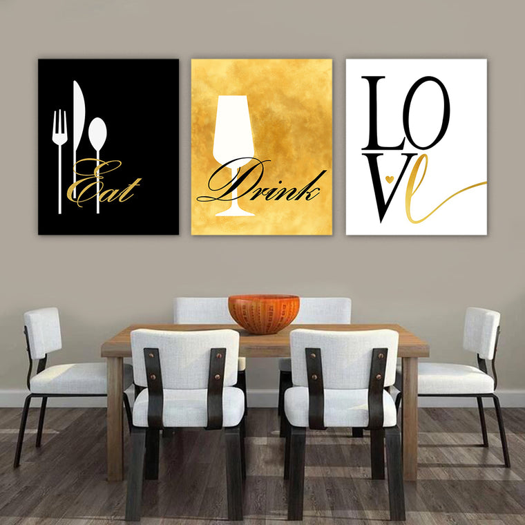 Eat Drink Love Modern Wall Art Set I