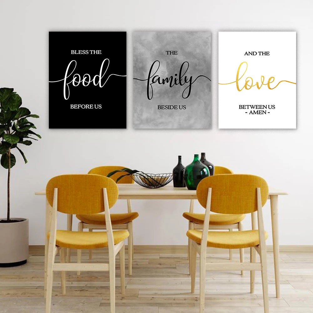 Bless the Food Dining Room Wall Art Set I