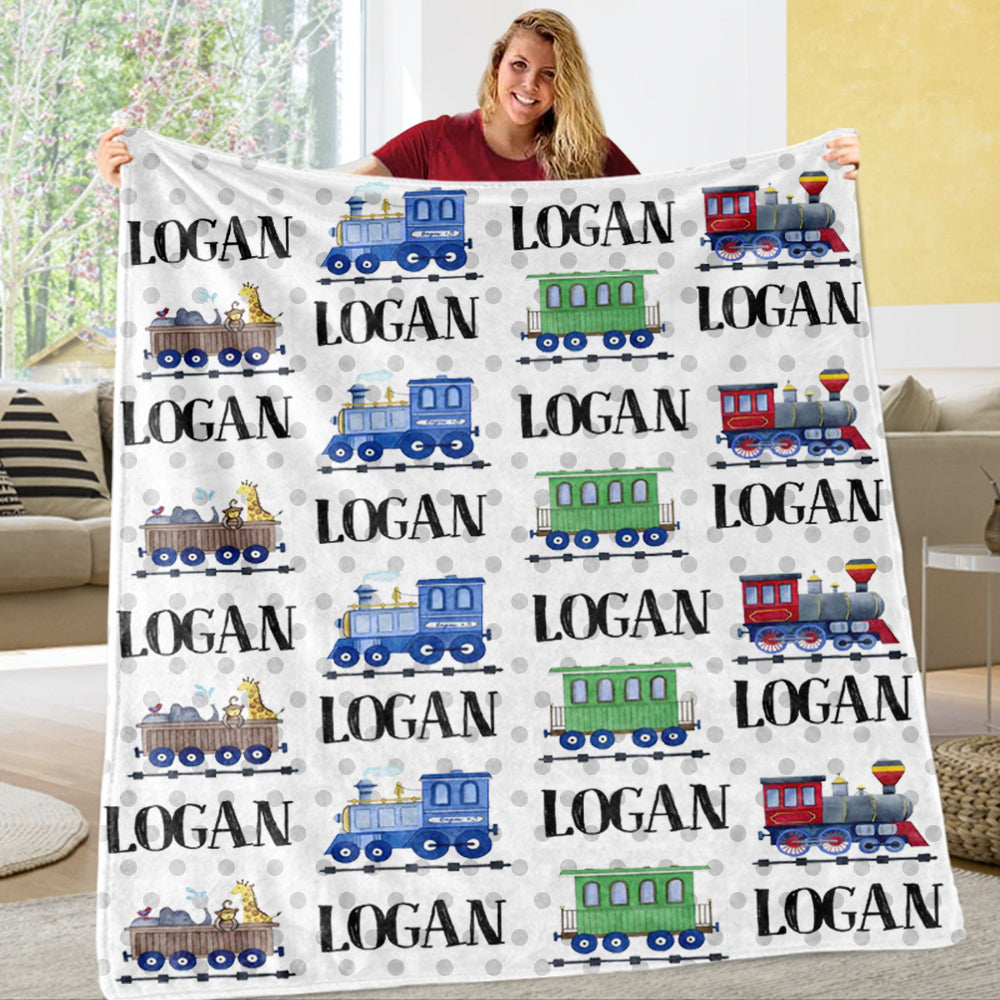 Personalized Name Train Cozy Plush Fleece Blankets