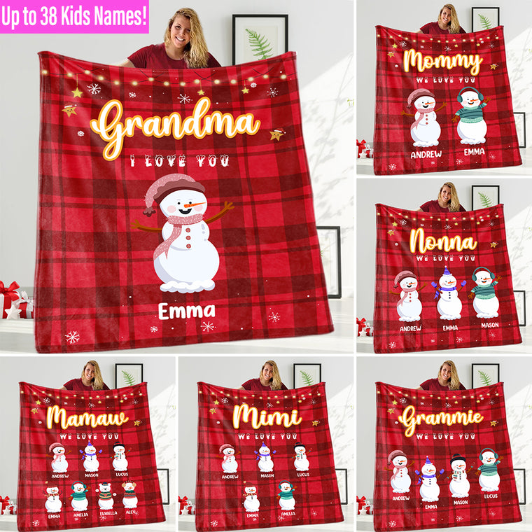 Personalized Snowmen Blanket with Children's Names