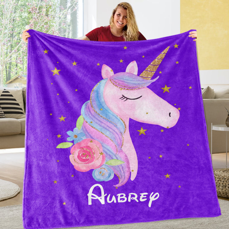 Personalized Floral Unicorn Fleece Blanket Purple