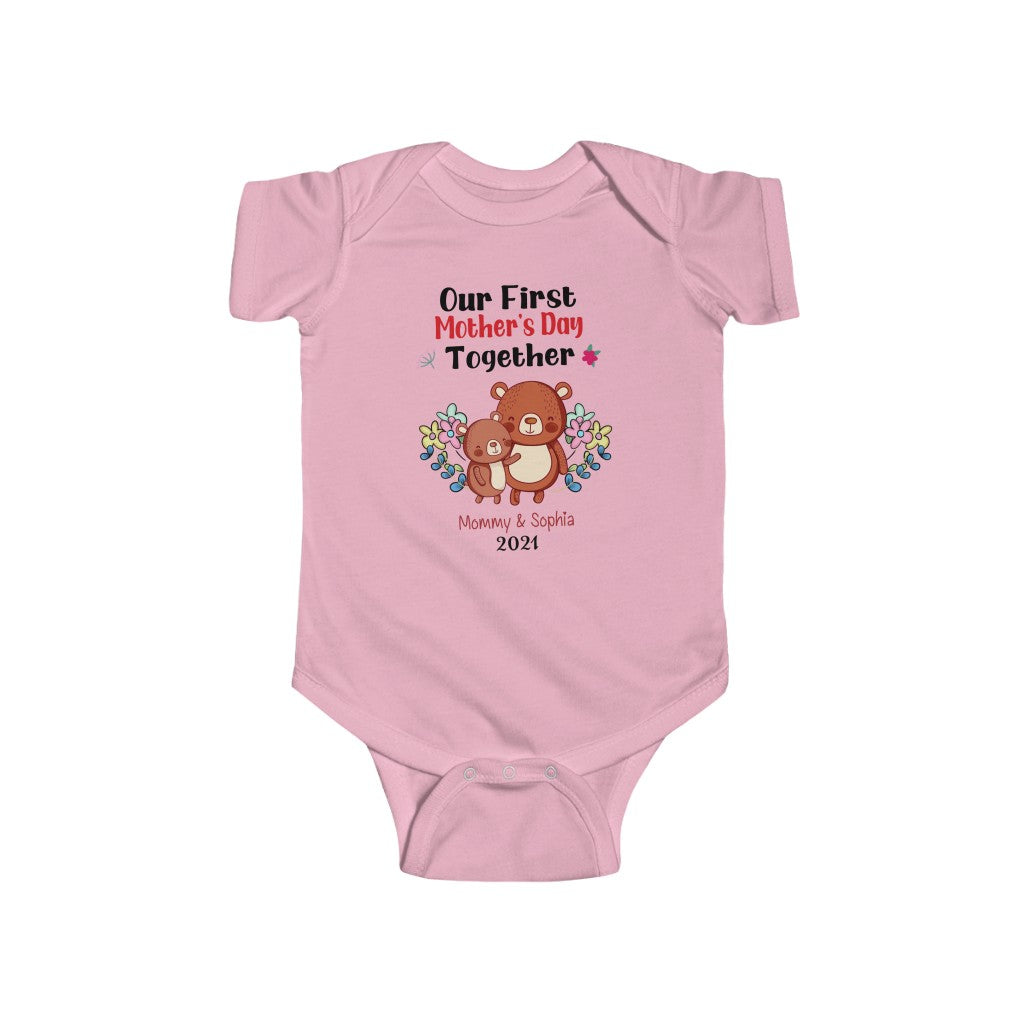 Custom Kid's Name Bear Infant Fine Jersey Bodysuit